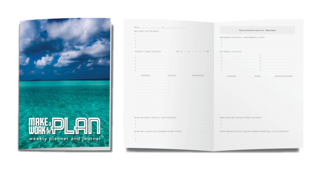 Cover and inside spread of weekly planner